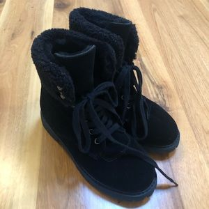 UGG Black combat style boots. Suede, size 38 (AU7)